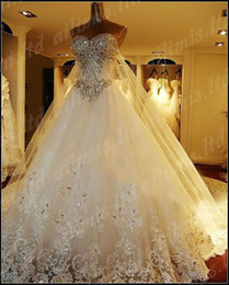 Wholesale Luxury Empire wedding dress Sexy shiny Rhinestones Crystal diamond with appliques lace sweep train with free veil and gloves bridal dresses
