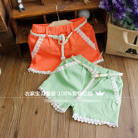 Wholesale 2013 Summer Children Girl Fresh Cute Cotton Shorts With Belt Girls Princess Pants Baby Girl Loose Lanterns Lace Bored Breeches