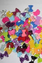 Wholesale 100pcs Flatback Resin Rhinestones Mixed Colors Bow Butterfly Nail Art Decoration