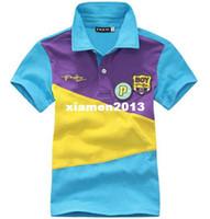 purple polo shirts - Freeshipping summer Children Boy Kids baby blue purple short sleeve sports POLO cotton shirt T shirt clothing top PEXZ02P21