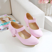Lace-Up Women Spring and Fall 2014 spring and autumn casual work shoes with thick solid word buckle shoes vivi shoes Japanese Occupation 2750