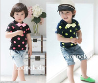 100% Cotton Long Sleeve Boys girls 2013 Baby clothing for summer Gentlemen Wave point lapel t shirt + jeans shorts 2pcs boys girls casual set 2-6Year kids suits QS143