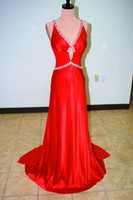 Cheap Reference Images Ball Gown Best V-Neck Satin Prom Evening Dresses