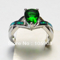 Cheap fashion opal ring with green CZ stone;fashion opal rings 925 stamped