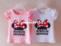 Boy other Summer Children's clothing wholesale 2013 summer new girls cartoon Minnie mouse short-sleeve T-shirt 2colors Free shipping