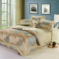 Wholesale 4pcs Noble jacquard satin bedding set silk comforter set duvet cover set