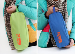Wholesale 100pcs Waterpfoof Portable Shoes Organizer Nylon Storage Bag with Dual Zippers for Outdoor Traveling color send in random