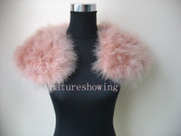 Plain Dyed fur capes - Genuine ostrich feather fur cape shawl scarf dark pink