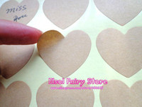 handmade product - Blank Kraft Heart Sticker for Handmade Products Gift seal sticker mm Free ship