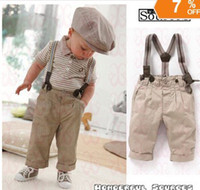 Summer 3T-7T Boy 2013 newest free shipping 5 sets lot baby boy retro handsome summer clothing set(short sleeve+suspender trousers) kids garment