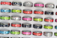 South American bulk lots - FREE Bulk colorfull resin Fashion Jewelry stainless steel English scripture Cross silver tone Rings Jewelry rs0073