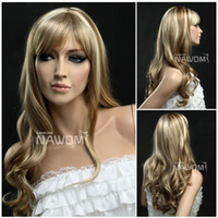Wholesale long curly snythetic hair wigs for women with bright blonde color fits party wig online high quality