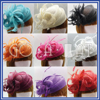 Wholesale Ascot Ladies Sinamay Church Bridal Feather Swirl Pillbox Cocktail Hat MULTI COLORS