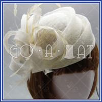 Wholesale Ascot Ladies Sinamay Church Bridal Feather Swirl Pillbox Cocktail Hat IVORY