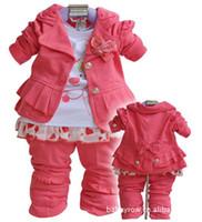 b coat - 1 set retail Baby girl suit kids pc long sleeve coat t shirt pants girls suits B Girls Princess Sets Kids Clothing
