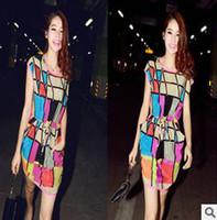 Wholesale New women dress Korean fashion color plaid chiffon dress