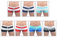 Men Shorts Striped Free shipping Men's mid-waist color gradient swimming trunk Boy's fashion boxer swimming shorts beachwear swimwear 7colors available