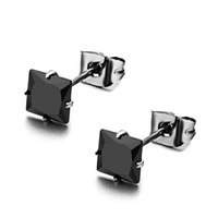 Wholesale Retail mm mm g Fashion Stainless Steel Black CZ Crystal Stud Earrings For Women Girl Lowest Price Best Quality
