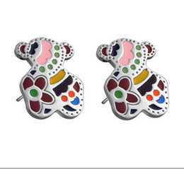 Wholesale Retail mm mm g Fashion Jewelry Stainless Steel Flower Bear Stud Earrings For Women Lowest Price Best Quality