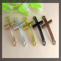 Wholesale 37mmx16mm mixed plated SideWays metal Smooth Cross Connector Charm Beads making Bracelet Jewelry findings