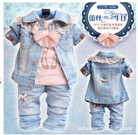 Wholesale sets Girls Set Jeans Set T Shirt Coat Jeans Baby Clothes Set Baby Clothing Kids Clothes Girls Beautiful Sets