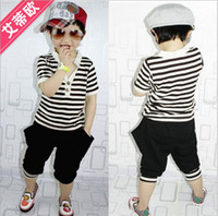 Wholesale children cotton clothes set boys girls short sleeve suit stripe tees shorts kid suit