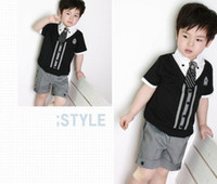 Wholesale Hot children baby boys gentleman summer short suits set colors shirt tshirt pants