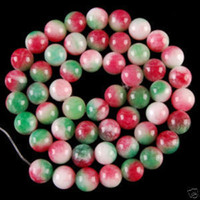 Wholesale Charming mm Red Green Jade Ball Loose Beads quot pc
