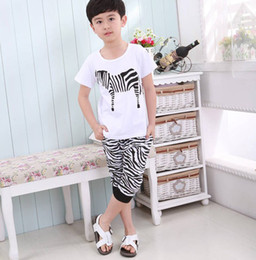 Wholesale Korean children s clothing summer new boy child baby zebra cotton short sleeved harem pants suit