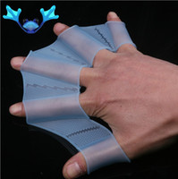 Wholesale One Pair of Silicone Swimming Gear Swim Web Glove Blue Fin Dive Equipment