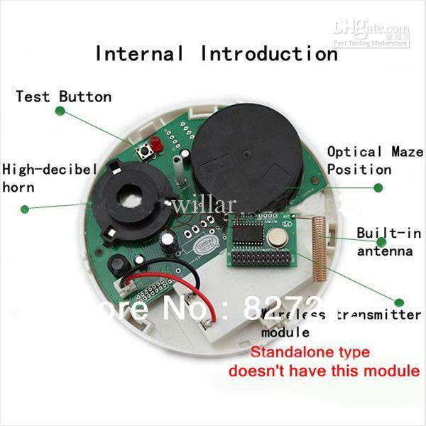high sensitivity wireless photoelectronic smoke heat detector alarm red strobe light 85db 3m. Black Bedroom Furniture Sets. Home Design Ideas