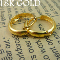 Wholesale 1pair Women s Jewelry k gold plated hoop earrings round earrings power clip earrings gold color mm mm R18