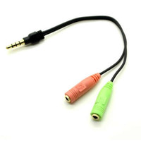 Wholesale PC Headset to Smart phone Adapter HTC IPHONE BlackBerry Dual mm to mm Gold