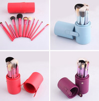 Wholesale 12pcs Pro Cosmetic Makeup Brush Set Make up Tool Leather Cup Holder Case kits