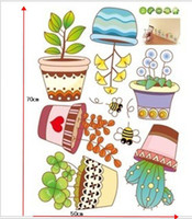 Wholesale Little Garden Potted Flowers Kids Mural Bathroom Decal Wall stickers Flowers Furniture Stickers Size cm