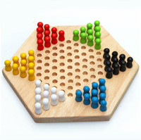 Draughts Chinese Checker Game Black, Blue, Green, Red, White, Yellow Multi Color Intelligence Wooden Chess Toys Chinese Checker Game Kids Educational Toys XD156