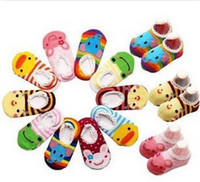 free wholesale infant shoes - Baby Boys Girls Multicolored Cartoon Boat Socks Infant Baby Antiskid Shoes Newborn Baby Cute Walker Shoes B0763