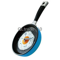 Wholesale creative wall clock fried eggs pan shaped clock cm g yellow green pink red gold blue TV166