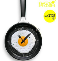 Wholesale creative wall clock fried eggs pan shaped clock cm g yellow green pink red gold blue TV166 DHL free