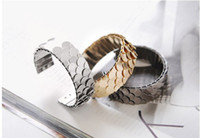 Wholesale 6pcs Fashion Gold Silver Black Metal Fish Scale Bangle Bracelet Unisex Jewelry