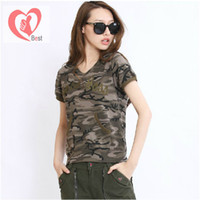 Women V_Neck Outdoor Sport Style Hot selling! Women outdoor sport green short-sleeve T-shirt Army fans T-shirt, camouflage and army green free shipping