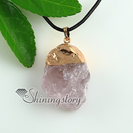 rose quartz amethyst silver gold plated natural semi precious stone necklaces pendants genuine stone jewelry Spsp1668YF0
