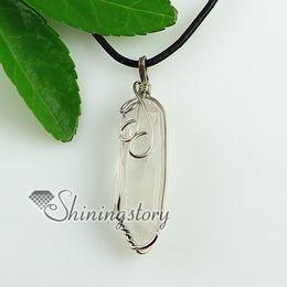 rock crystal quartz natural semi precious stone necklaces pendants Fashion jewellery Spsp1677YF0 stone jewelry pendants