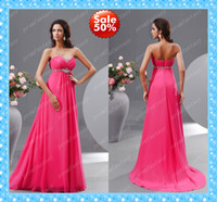 Wholesale 2015 Custom Made Off Discount On Sale Shiny Beaded Fuchsia Chiffon Prom Gowns Sweetheart Long Empire Cheap Beach Bridesmaid Dresses