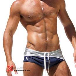 Wholesale AQUX and retail nylon low rise sexy fashion spell color men s sports boxer swimwear AQdhf