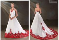 Wholesale 2013 Exquisite White Sweet Heart Embroidered Halter Dress With Graceful Ruffle Organza Wedding Bridal Dresses AD02511
