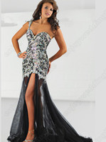 Wholesale 2013 Sexy One Shoulder Black Tulle Pegeant Dresses Beaded Crystal Top Split Mermaid Evening Gown