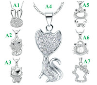 Women's animal shaped sweets - Sweet Classic Style Lucky Cat New Popular Style Heart Shape Pendant Necklace Super Cute Sterling Silver Singapore Fashion Jewelry