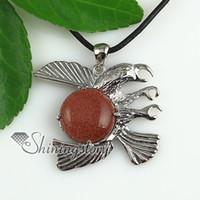 european eagle pendant - round eagle jade natural semi precious stone necklaces pendants Hand made jewelry Spsp1734cy5 handmade cheap fashion jewelry