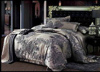 Wholesale 4 Queen King Gray Jacquard comforter set Printed Floral JSLN007